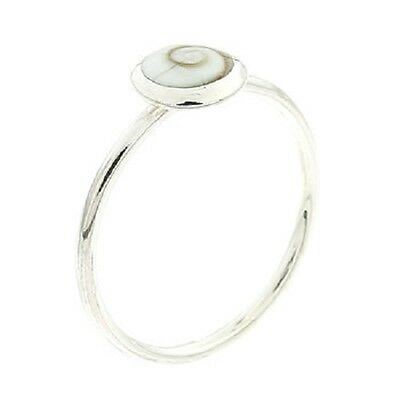 Band ring 925 sterling silver with 8mm Shiva Eye shell ring handmade size 7us
