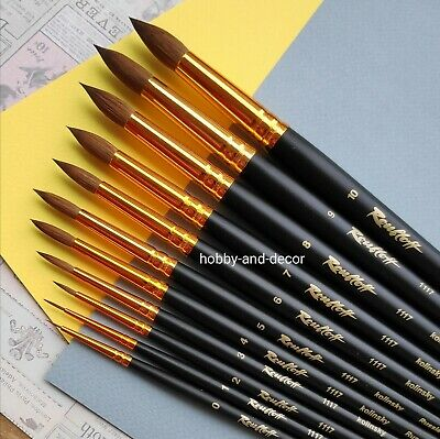 KOLINSKY SABLE PROFESSIONAL Paint Brushes Long Round Oil Watercolor ROUBLOFF