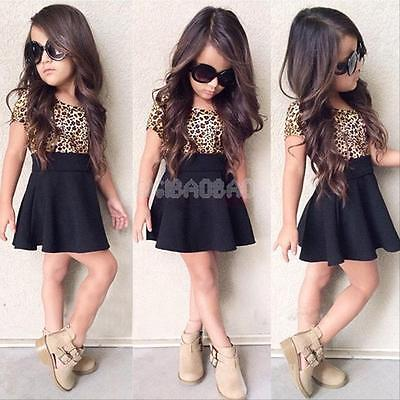 Baby Girls Kids Toddler Clothes Leopard Short Sleeve Princess Black Skirt Dress