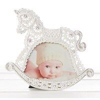 Christening Gift Baby Photo Frame Silver Plated with a Lace Design Rocking Horse