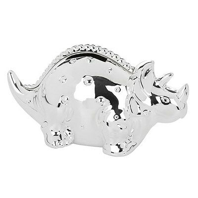 Christening Gift Dinosaur Money Box De Luxe Silver Plated Coin Bank