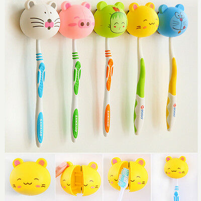 Cartoon Toothbrush Holder Stand Mount With Suction Grip Wall Rack Bathroom Home