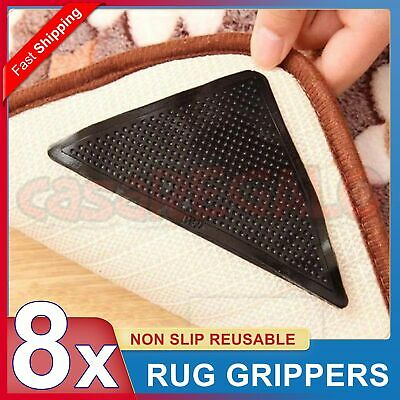 8x RUG GRIPPERS Non Slip Reusable Carpet Mat Gripper Anti Skid Washable Grip