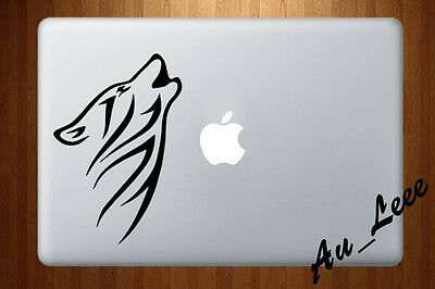 Macbook Air Pro Vinyl Skin Sticker Decal Pet Dog Wolf Animal Howling Moon M948