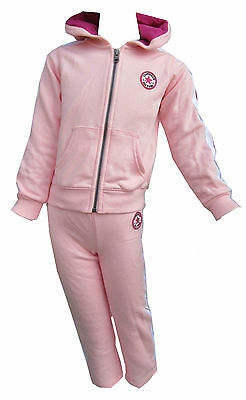 Converse Girls 2 Piece Mallow Pink Tracksuit Hoodie Hoody All Star 2,3 or 4Y