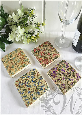 New Antique Vintage Wine Coasters Ceramic Set Of 4 Aged Gift Victorian Shabby