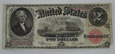 1917 Large Size Note $2 Two Dollar Bill Red Seal Banknote (T643)