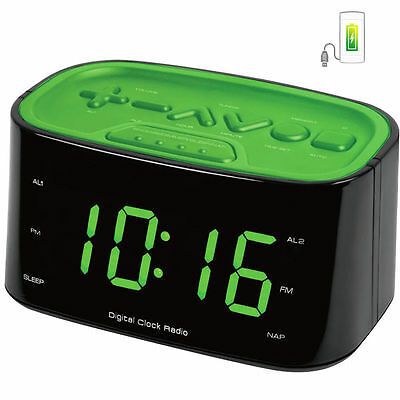 FM Radio Dual Alarm Clock/Large Big LED Digital DisplayCharger USB Port Green