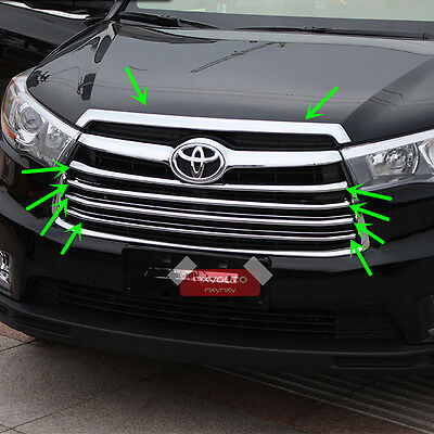 5Pcs Chrome Engine Hood + Grille Moulding Trim For Toyota Highlander 2015 2016