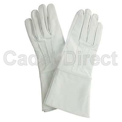 White Leather Gauntlet Gloves