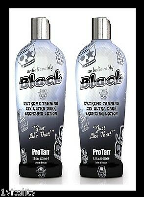 2 X Pro Tan Unbelievably Black Sunbed Lotion Cream Tanning 250Ml Free P & P Gift