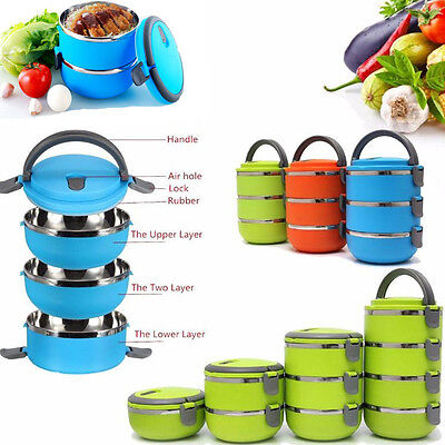 Portable Stainless Steel Thermal Insulated Lunch Box Bento Food Container Round