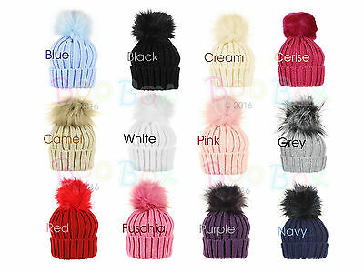 Baby Childrens Toddler Kids Spanish Style Faux Fur Knitted Pom Pom Hat 0-8 Years