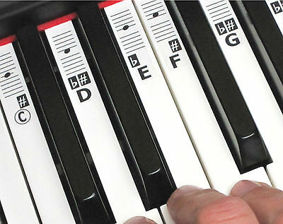 Music Keyboard Piano Key Note Stickers - 52 Labels (49-88 Keys) + Online Lessons