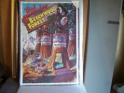 """Vintage Poster Budweiser """"Wish You Were Here in Beechwood Forest""""  1986  28""""x20"""""""