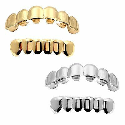 14K Gold & Silver Plated Grillz (Top & Bottom) w/ Mold Kit 2 Pair SET [Bundle]