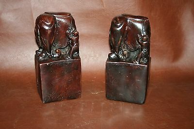 """VERY RARE Antique Chinese 7"""" Brown Jasper Type Carved Rock Elephant Bookends"""