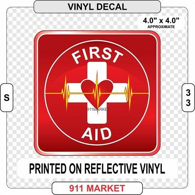 First Aid Square Reflective Decal Car Truck Outdoor Sticker First Responder S 33