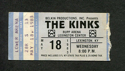 1983 Kinks concert ticket stub Lexington KY State Of Confusion You Really Got Me