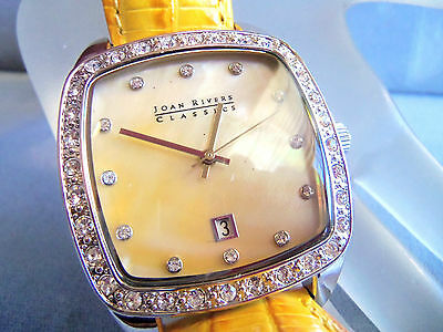 Joan Rivers Large Classic Collection  Silver Watch Gold Yellow Band Unworn