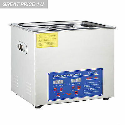 Stainless Steel Industry Heated 15L Liter Ultrasonic Cleaner Heater w/Timer
