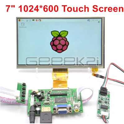 "7"" inch LCD 1024*600 for Raspberry Pi HDMI+VGA+2AV Driver Board+Touch Screen"