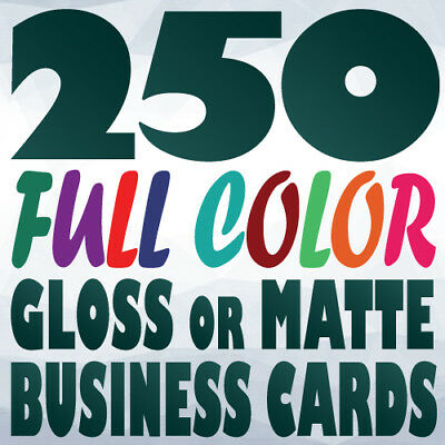 250 Full Color Custom BUSINESS CARD Printing on a 14pt Gloss or Matte Finish