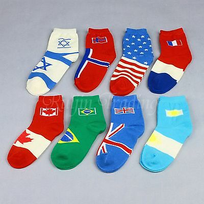 1 Pair Unisex Men Women Cotton Casual Flag Sports Socks World Cup Country