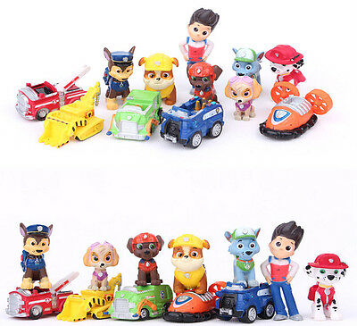 New 12 IN 1 PAW Patrol dog Kids Mini Figures Toy Play Set Gift Ryder and 6 Dogs