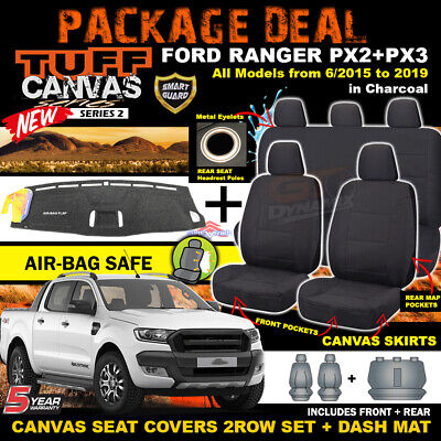 FORD PX MK2 RANGER TUFF Canvas Seat Covers F+R plus Dash Mat Package 6/2015-2018