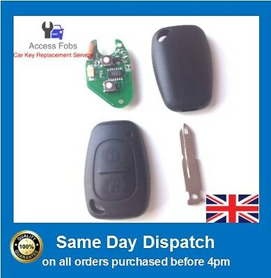 New 2 Button KEY Remote FOB for VAUXHALL VIVARO, MOVANO, RENAULT TRAFIC, MASTER