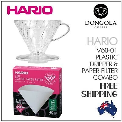 HARIO V60-01 Cup Brewer Combo Plastic Dripper Pour Over Coffee 40 Cone Filters