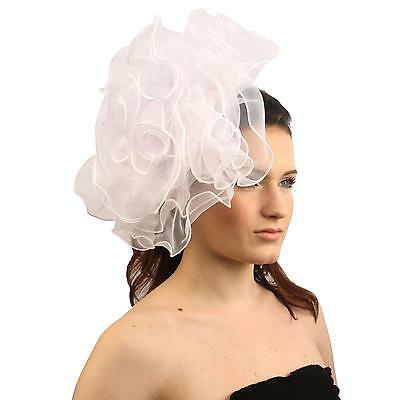 Elegant Derby Ruffle Floral Headband Fascinator Millinery Cocktail Hat White