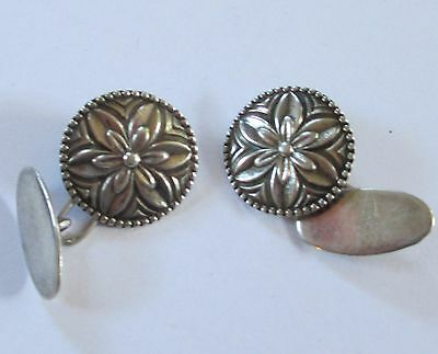 EMBOSSED FLOWER silver tone vintage cufflinks SIGNED cuff links