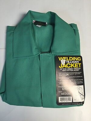 "Tillman 6230V-M 30"" 9oz Green FR Cotton Welding Jacket (Medium)"