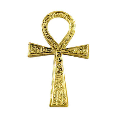 "Solid Brass Egyptian Ankh Cross with Inscribed Hieroglyphs 4"" Totem Altar Decor"