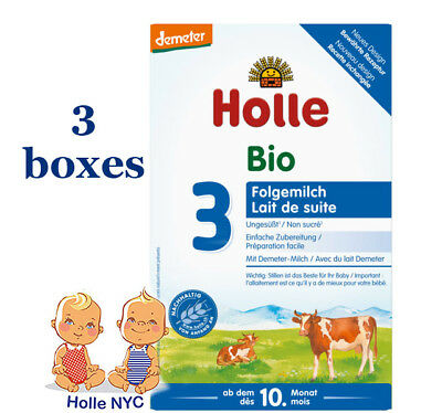 Holle Stage 3 Organic infant Formula 3 BOXES 10 month plus 11/2018, 600g