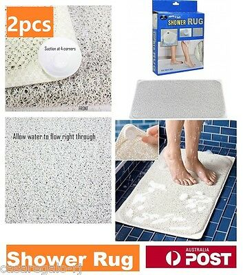 2pcs Shower Rug Bathmat Aqua Rug HYDRO Anti Slip Drain Away Shower Mat Non Slip