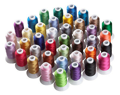 SIMTHREAD 40Wt Polyester Embroidery Machine Thread Kit, 40 Colors, 550Y/spool