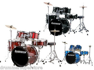 Ludwig Junior Drum Set with Hardware Cymbals Throne Blue Red Black JR Kit