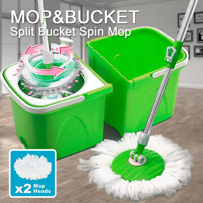 Split Bucket 360 Rotating Magic Spinning Spin Mop 2 Mop Heads Stainless Steel