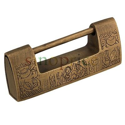 Chinese Ancient Style Vintage Padlock Carved Flower Wedding Jewelry Box Lock