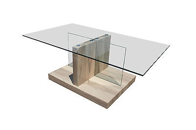 Coffee Table :: White Oak Finish & Tempered Glass Top Lounge Room Table
