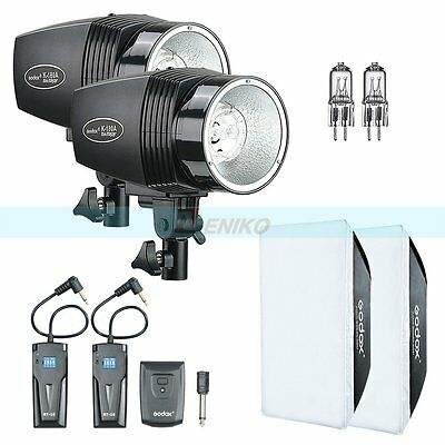 Godox K-180A 360W(2x180w) Studio Flash Light + Trigger +Softbox +Extra Bulb Kit
