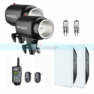 Godox 600W(2x300W) E300 Studio Strobe Flash Light + Trigger Softbox Bulb Kit