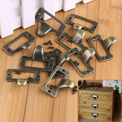 Lot Antique Drawer Cabinet Label Pull Frame Handle File Name Card Holder +Screws