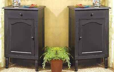 """2 Cabinet Tables Nightstand Distressed Black Side Table 29"""" - Set"""