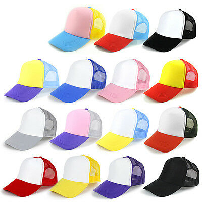 Women Men Plain Baseball Cap Trucker Blank Curved Mesh Visor Hat New Adjustable