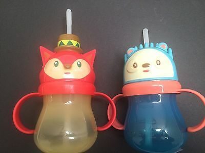 Circo Fox and Hedgehog Sippy Cups Straw Animals