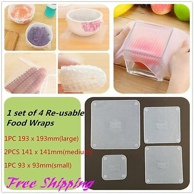 4PCS Reusable Silicone Re-usable Food Storage Wraps Safe Kitchen Wrap DI